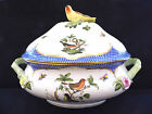 HEREND ROTHSCHILD BIRD BLUE BORDER,LARGE SOUP TUREEN,with bird lid end,brand new