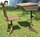 Antique VTG 1920s 1930s School Desk Industrial Toledo Stool Chair Ink Well Table