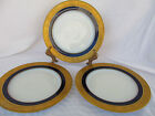 BLACK KNIGHT GERMAN PORCELAIN WITH GOLD RIMMED COBALT BLUE THREE PLATES
