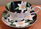 Antique Tuscan bone china cup and saucer, big white flowers on black - FREE SHIP