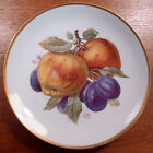 Vintage Mitterteich Germany apples and plums fruit plate, gold trim - FREE SHIP
