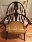 RARE Antique American Windsor Bow-Back Chair Padded Seat Seating Furniture Texas