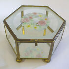 Vintage Brass and Glass Jewelry Curio Display Trinket Box W/ Painted Flowers