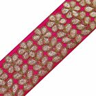 Pink Ribbon Trim Metallic Thread Embroidered Lace Sew Sari Border Tape By 1 Yd