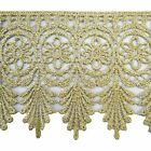 Metallic Trim Sari Border Floral Crochet Lace 7.8 Cm Wide Trim By The Yard