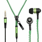 Green Zipper Headphones Earphones Earbuds with Mic Microphone for Cell Phones
