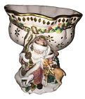 Fitz and Floyd Snowy Woods Santa Footed Compote/Bowl