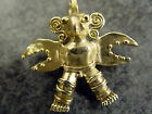 Mexican Aztec Mayan 14K Gold Bird God Warrior Pendant, rare find