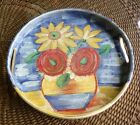Vintage SARA Hand Painted MADE IN ITALY Flower Pot Design Ceramic Tray 13-1/2