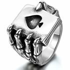 Mens Stainless Steel Ring Gothic Skull Hand Claw Heart Poker Playing Card Band