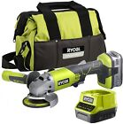 Ryobi ONE+ 18V Cordless 115mm Angle Grinder with 4.0Ah Battery and Super Charger
