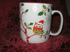 222 Fifth Enchanted Woods Holiday Christmas Large Mugs - Owls Set of /2 NEW
