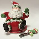 Fitz & Floyd Stocking Stuffers Santa Claus Christmas Cheese Dome Covered Dish