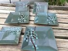 Pier 1 China TRANQUIL SET OF 3 Square SALAD PLATES AND 3 DINNER PLATES MINT