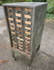 Old Antique Factory Green Metal Wheeled 30 Drawer Wheeled Cabinet, 17x30x44