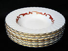 SYRACUSE CHINA BAROQUE 6 SOUP BOWLS MADE IN AMERICA GOLD TRIM FLUTED