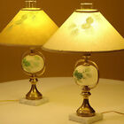 VINTAGE FENTON GLASS BRASS LAMP PAIR PINE TREE CONES & NEEDLES ON FROSTED GLOBES