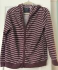Forever 21 Men's Purple & White Striped Cardigan Sweater Button Down Hooded Sz M