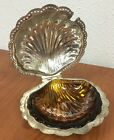 Vintage LEONARD Silver Plate Hinged Shell Clam BUTTER Caviar DISH Crystal Insert