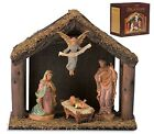 4 Pc Nativity Set with Wood Stable