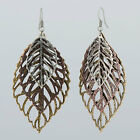 Layered Antique Gold Silver Copper Bohemian Leaf Design Drop Dangle Earrings