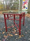 VTG MCM Faux Bamboo Table X Base 1960S Hollywood Regency Asian Chinese RED Mont