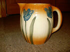 1916 Antique Early Roseville Stoneware Utility BLUE TULIP Pitcher