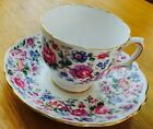 Crown English Bone ChinaMulti Colored Floral Tea Cup and Saucer Gold Trim