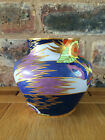 Extremely Rare 1930s Art Deco Carlton Ware Blue Floral Comets Vase
