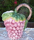 Vintage Ceramic FRUIT Pitcher Creamer MADE IN ITALY Grape Shape Pattern Design