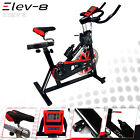 ELEV 8 Spin Exercise Bike Fitness Cardio Workout Machine BLACK RED