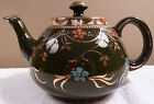 Antique Ellegreave olive green teapot with gold and raised enamel designs