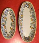 Set Lot of 2 Meridiana Ceramiche Deruta Oval Platter Orange Blue Italy 15