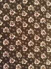 Olive Green Background 100% Cotton Fabric Off White Small Flowers Wine Centers