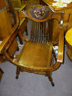 Antique Oak Chair Roman carved back quartersawn tiger refinished saddle seat