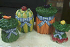 4pc FITZ FLOYD Canister Vegetable Gardening BOWQUET PATTERN