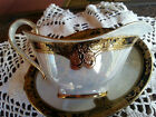 Exquisite Porcelain Iridescent Gravy/Sauce Dish/Boat Gold Band Detailed