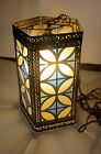 Vtg 1960s Hanging Swag Light Lamp BLUE WHITE Gold Stained Glass Look Cathedral