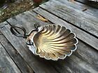 Vintage Silverplate Footed Shell Shaped Dish Bowl Clam Handle and spoon rest