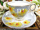 ROYAL STAFFORD TEA CUP AND SAUCER YELLOW FLORAL PAINTED PATTERN TEACUP