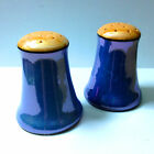 Vintage Lusterware Salt Pepper Shakers Japan Opalescent Orange Blue hand painted