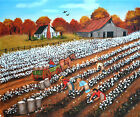 Folk Art Original Landscape Oil Painting Picking Cotton Barn Wagon Arie Taylor