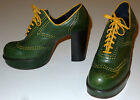 VINTAGE PLATFORM SHOES GREEN & YELLOW LEATHER WINGTIPS 1973 WOMENS SIZE 7