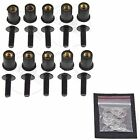 10 Black Windscreen Fairing Bolts Wellnuts 5mm Set Kawasaki Ninja ZX ZZR Z1000