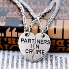2PCS Chic Heart Partners In Crime Best Friends BFF Chain Silver Necklace Pendant