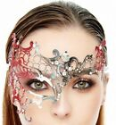Glitter Red Silver Metal Venetian Masquerade Mask w Clear Stones GK2007SL RD