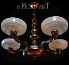 Vintage 1930 French ART DECO Five-Light Coppered Brass CHANDELIER Uplight Shades