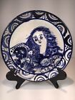 Sue Ray Bolt Ceramic Hand Painted Women Angel W/ Flowers Scene Large Plate