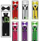 SUSPENDERS and BOW TIE COMBO SET Tuxedo Classic Wedding Costume Tux Prom Party