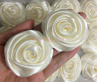 Lot 12pc 50mm 2 Ivory Satin Ribbon Rose Flowers DIY Wedding Bouquet Decoration
